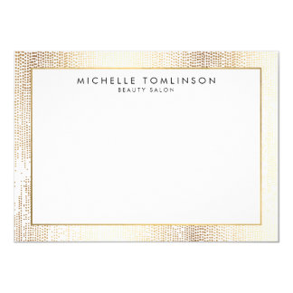 Luxe Faux Gold Confetti Rain Pattern Flat Notecard