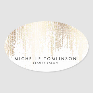 Luxe Faux Gold Confetti Rain Pattern Oval Sticker