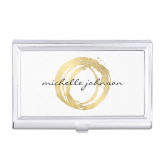 Luxe Faux Gold Painted Circle Designer Logo Business Card Cases