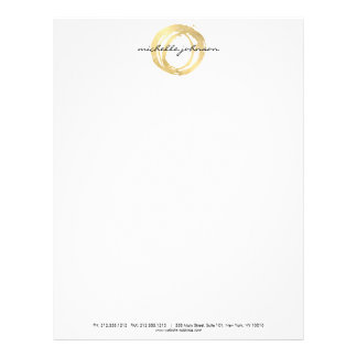 Luxe Faux Gold Painted Circle Designer Logo Customized Letterhead