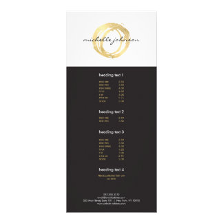 Luxe Faux Gold Painted Circle Designer Logo Full Colour Rack Card