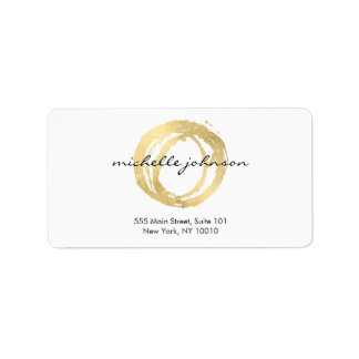 Luxe Faux Gold Painted Circle Designer Logo Label