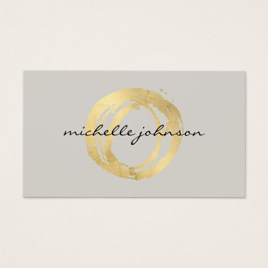 Luxe Faux Gold Painted Circle Designer Logo on Tan