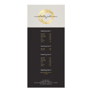 Luxe Faux Gold Painted Circle Designer Logo on Tan Rack Card Design