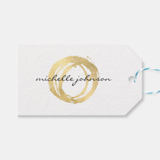 Luxe Faux Gold Painted Circle Designer Logo Pack Of Gift Tags