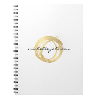 Luxe Faux Gold Painted Circle Designer Logo Spiral Note Books