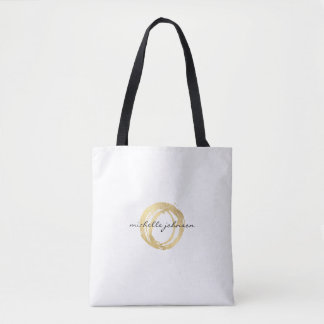Luxe Faux Gold Painted Circle Designer Logo Tote Bag