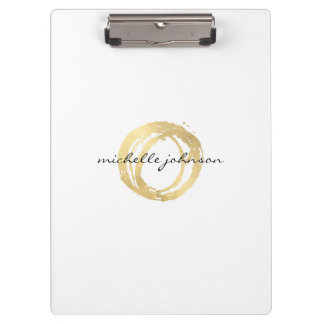 Luxe Faux Gold Painted Circle Personalized Clipboard