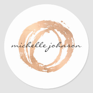 Luxe Faux Rose Gold Painted Circle Designer Logo Round Sticker