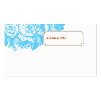 Luxe Floral Wedding Escort Card in Blue & Orange Business Card Template