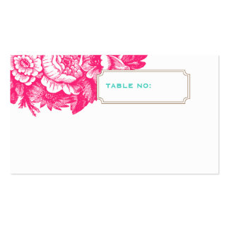 Luxe Floral Wedding Escort Card in Pink & Blue Business Card Template
