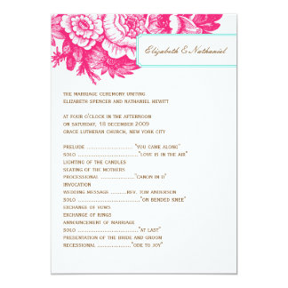 "Luxe Floral Wedding Program in Pink & Blue 5"" X 7"" Invitation Card"