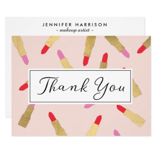 Luxe Glam Lipstick Pattern on Pink Thank You Card