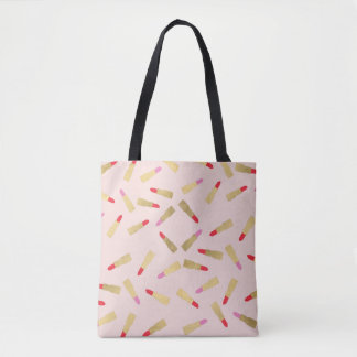 Luxe Glam Lipstick Pattern on Pink Tote Bag