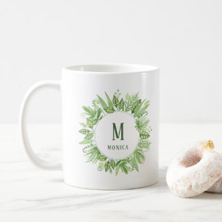 Luxe Leaves | Green Botanical Frame and Monogram Coffee Mug