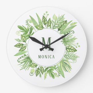 Luxe Leaves | Green Botanical Frame and Monogram Large Clock
