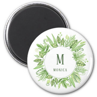 Luxe Leaves | Green Botanical Frame and Monogram Magnet