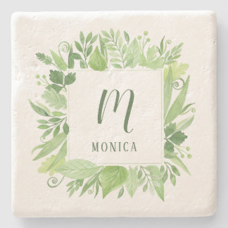 Luxe Leaves | Green Botanical Frame and Monogram Stone Coaster