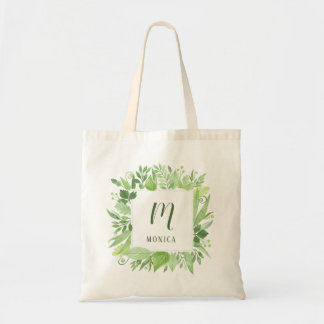 Luxe Leaves | Green Botanical Frame and Monogram Tote Bag