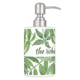 Luxe Leaves | Green Botanical Frame Bathroom Set