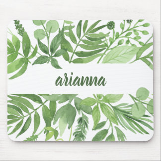 Luxe Leaves | Green Botanical Frame Mouse Pad