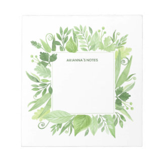 Luxe Leaves | Green Botanical Frame Notepad