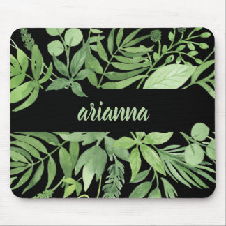 Luxe Leaves | Green Botanical Frame on Black Mouse Pad