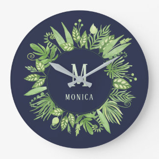 Luxe Leaves | Green Botanical on Midnight Blue Large Clock