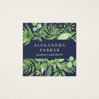 Luxe Leaves | Green Botanical on Midnight Blue Square Business Card