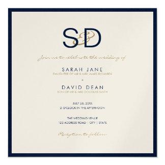 LUXE Monogram Navy Blue & White Wedding Invitation
