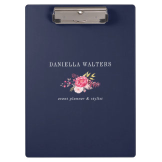 Luxe Navy and Pink Botanical Flowers Clip Board