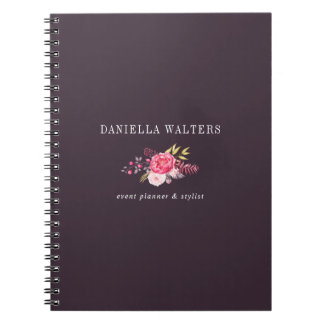 Luxe Plum and Pink Botanical Flowers Notebook