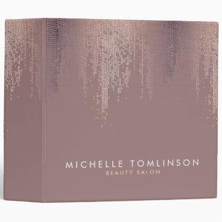 Luxe Rose Gold Confetti Rain Pattern Binder