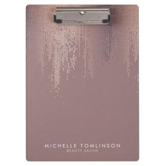 Luxe Rose Gold Confetti Rain Pattern Clipboard