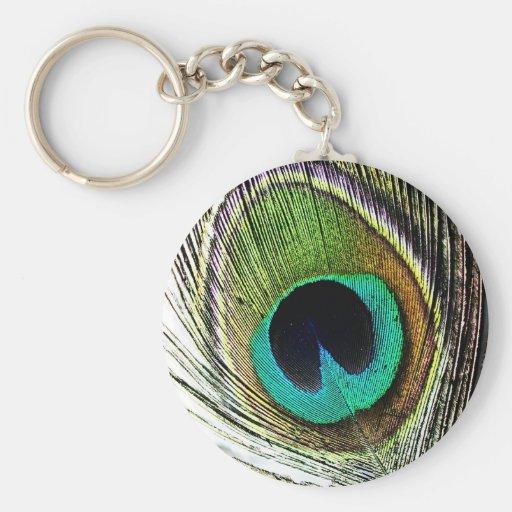 Luxe royal animal S de bel oiseau vert de paon Porte-clés