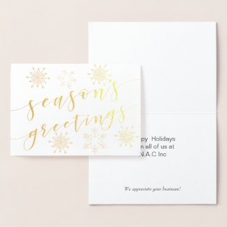 Luxe seasons greetings Corporate Holiday Greeting Foil Card
