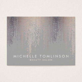 Luxe Shimmer Look Confetti Rain Pattern Gray Large Business Card