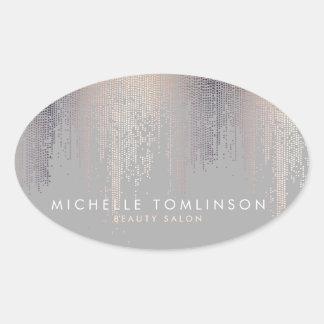 Luxe Shimmer Look Confetti Rain Pattern Gray Oval Sticker