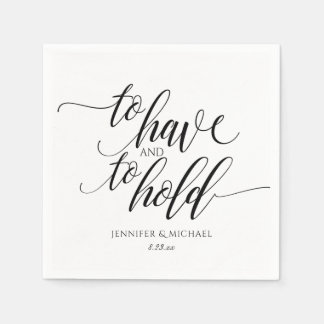 Luxe Typography Wedding Cocktail Napkins | Black