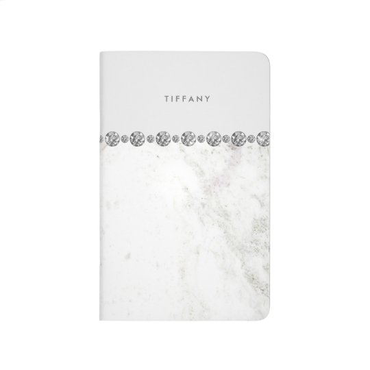 Luxe White Marble and Diamond Look on Soft Grey Journals