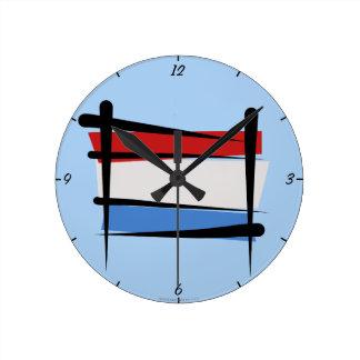 Luxembourg Brush Flag Clock