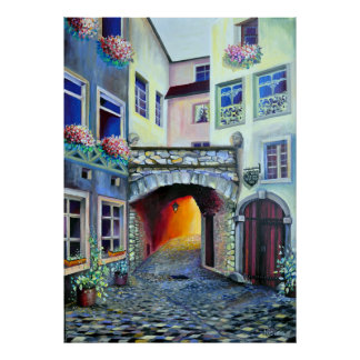 Luxembourg City - Bohemian Courtyard Poster