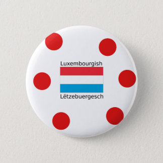 Luxembourg Flag And Luxembourgish Language Design 2 Inch Round Button