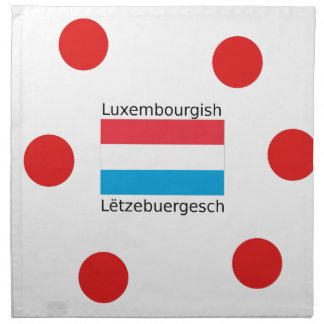 Luxembourg Flag And Luxembourgish Language Design Napkin
