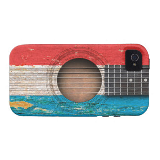 Luxembourg Flag on Old Acoustic Guitar iPhone 4 Cases