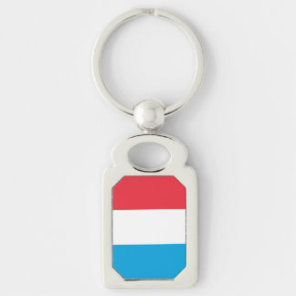 Luxembourg Flag Silver-Colored Rectangle Keychain