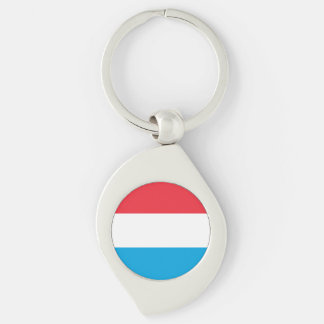 Luxembourg Flag Silver-Colored Swirl Keychain