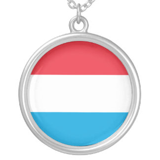 Luxembourg Flag Silver Plated Necklace