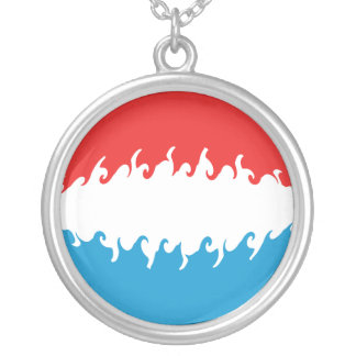 Luxembourg Gnarly Flag Round Pendant Necklace