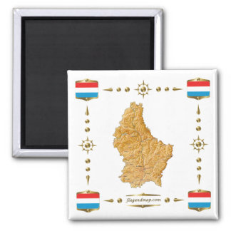 Luxembourg Map + Flags Magnet